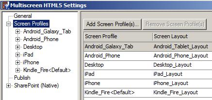 Multiscreen HTML5 settings