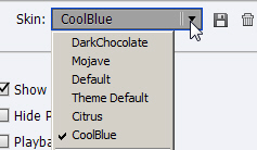 Adobe Captivate: Skin drop-down menu