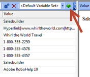 Adobe RoboHelp: Add Variable Set button.