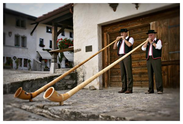 Alp Horns, Gruyeres, Switzerland