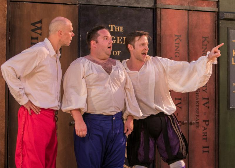 The Complete Works of William Shakespeare (abridged) (revised) by Adam Long, Daniel Singer, and Jess Winfield. The Shakespeare Theatre of New Jersey 2016. Directed by Jeffrey M. Bender. Pictured left to right: Patrick Toon, Connor Carew, Jon Barker.