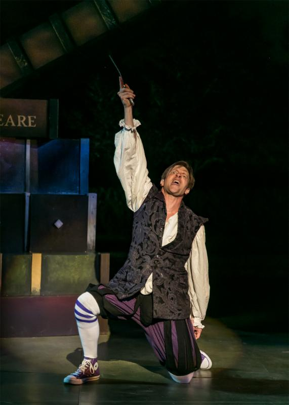 The Complete Works of William Shakespeare (abridged) (revised) by Adam Long, Daniel Singer, and Jess Winfield. The Shakespeare Theatre of New Jersey 2016. Directed by Jeffrey M. Bender. Pictured: Jon Barker.