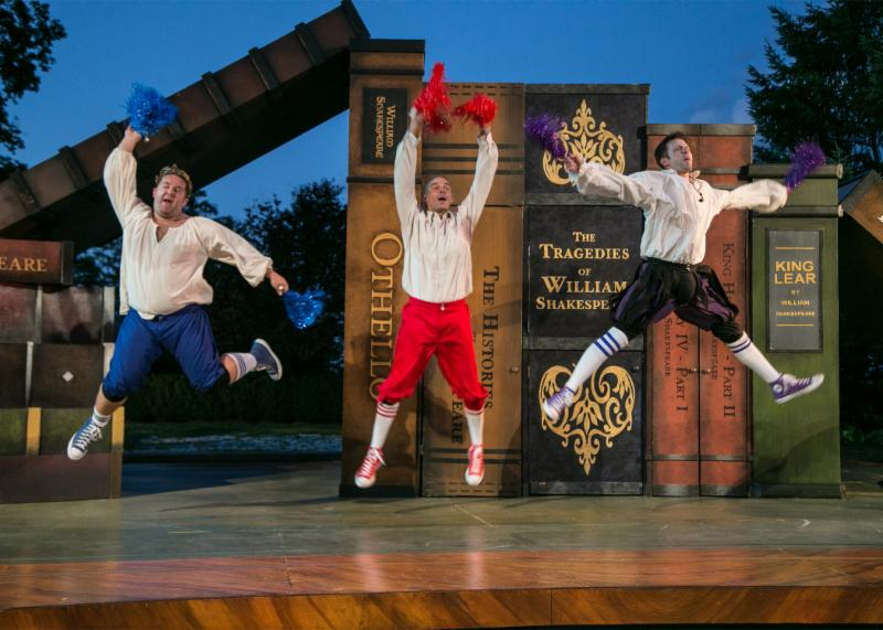 The Complete Works of William Shakespeare (abridged) (revised) by Adam Long, Daniel Singer, and Jess Winfield. The Shakespeare Theatre of New Jersey 2016. Directed by Jeffrey M. Bender. Pictured left to right: Connor Carew, Patrick Toon, Jon Barker.
