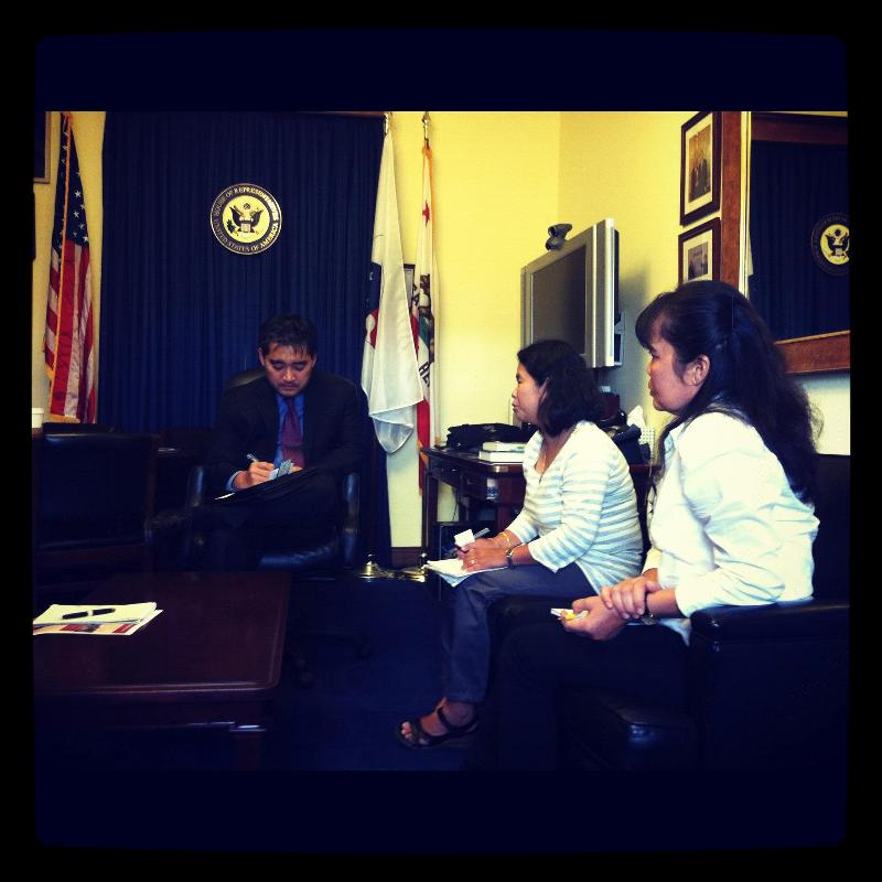 Speaking with staff in the office of Congressman Honda