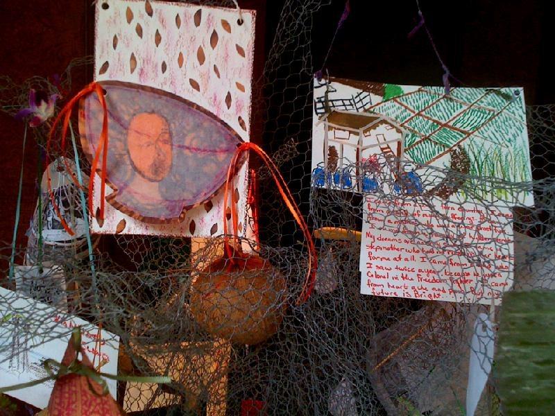 Drawings of memories placed on tree