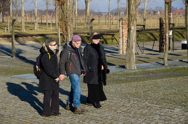 Robin Jellis, Judy Tierney, and Martin Steingesser at Auschwitz.
