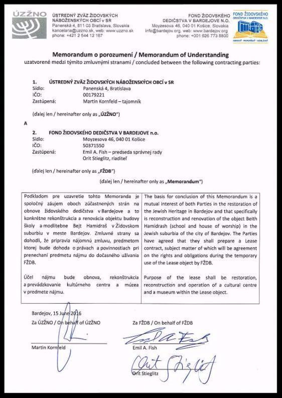 The signed Memorandum between UZZNO and the BJPC