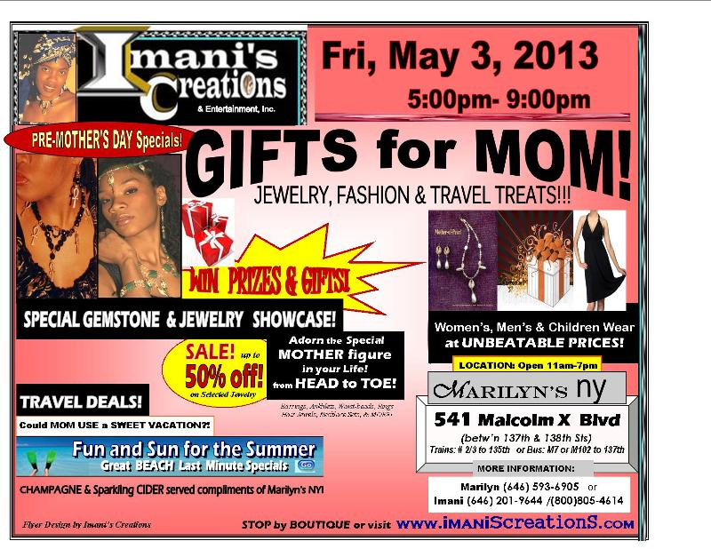 FLYER- Pre- MOTHER's DAY at MARILYN'S NY
