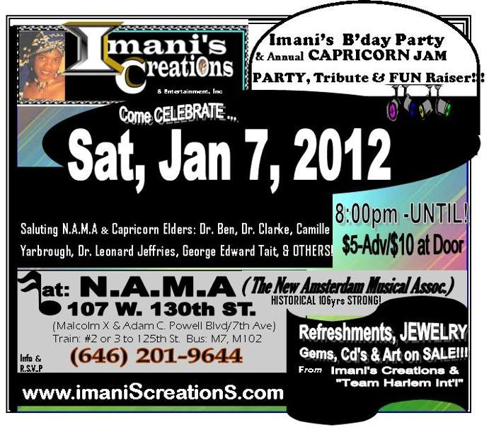 Flyer- Imani's B'Day PARTY & CAPRICORN Tribute 2012!