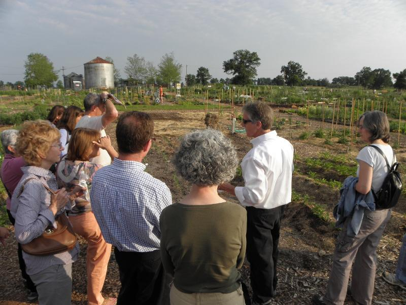 Paul explaining the community garden