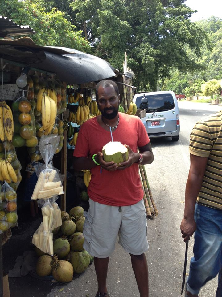 Having a coconut on the road to Kingston for Soul Yoga Fest on Sunday Augu