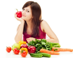 woman eating her vegetables