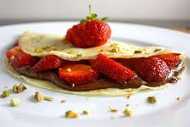 Strawberry and chocolate crepes
