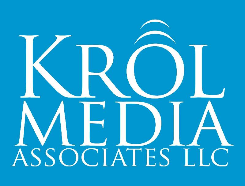 Krol stacked logo white on blue