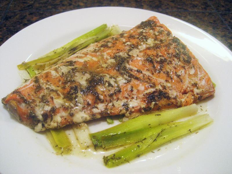 Salmon leeks