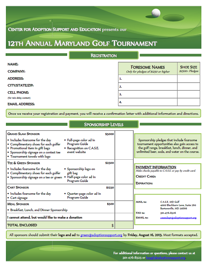 The Center for Adoption Support & Education Maryland Golf Tournament