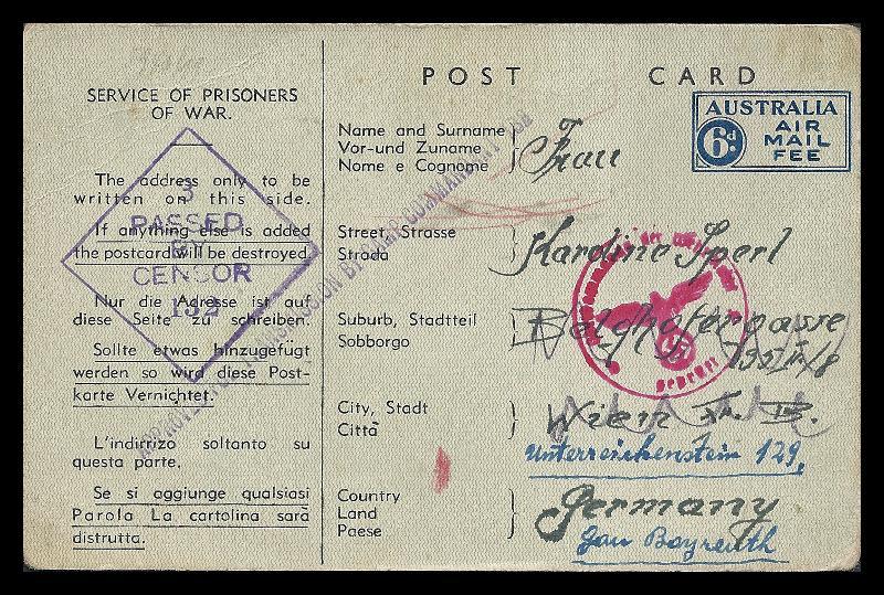 Australia POW postcard