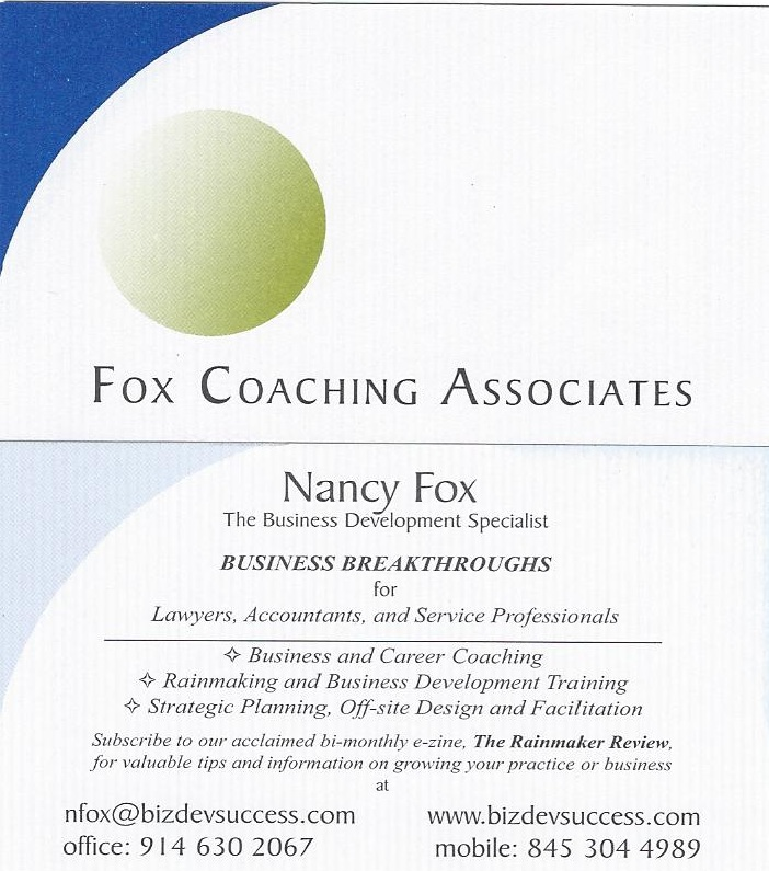 fox coaching business card