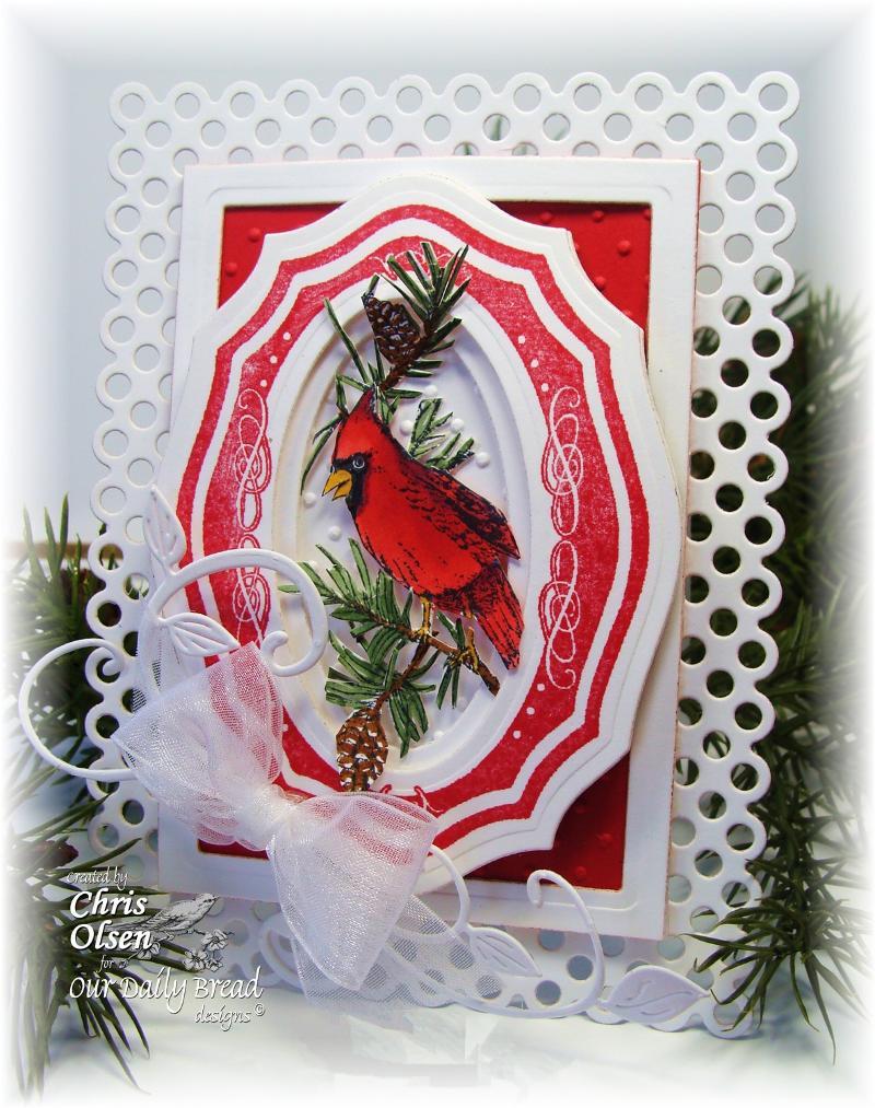 ODBD Elegant Oval Frames Cardinal Ornament Designer Chris Olsen