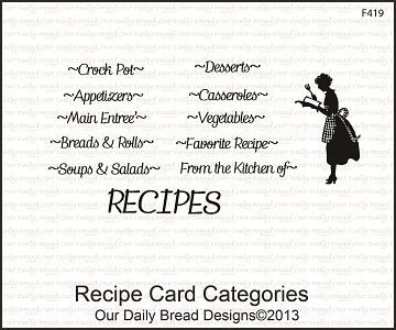 Stamps - Our Daily Bread Designs Recipe Card Categories
