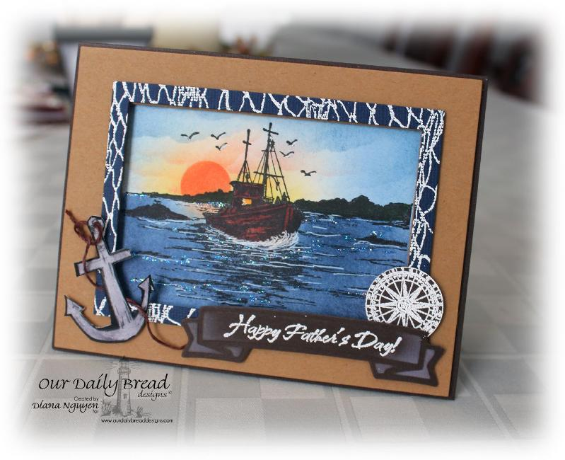 Stamps - Our Daily Bread Designs The Waves on the Sea, Fishing Net Background, Anchor