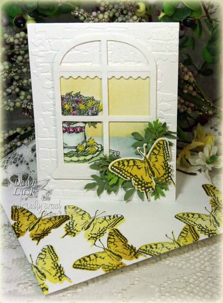 "ODBD Exclusive Spellbinders ""Windows"" Die Set, ""Birthday Blessings"", ""2-step Butterflies"" Designer Dawn Lusk"