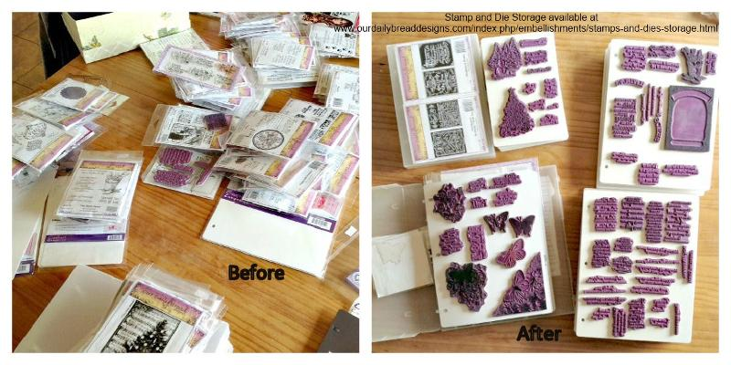 Stamp Stoarge before after - using stamp/die storage available at www.ourdailybreaddesigns.com