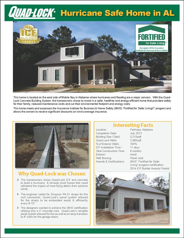 Quad-Lock Project Profile - Hurricane Resistant Home in AL