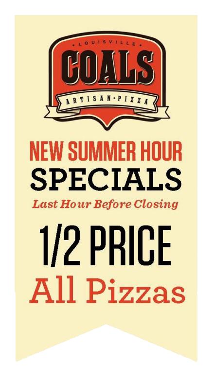 Half price pizza banner