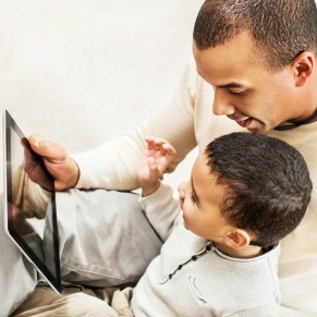 Dad and Son with Tablet PC