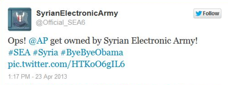 Ops! @AP get owned by Syrian Electronic Army! #SEA #Syria #ByeByeObama.