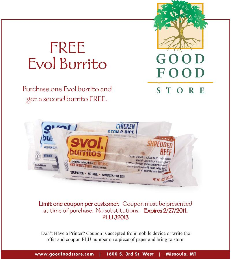 image relating to Gfs Coupons Printable called GFS Coupon: Absolutely free Evol Burrito