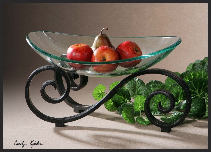 Gl Decorative Bowl With Metal Stand