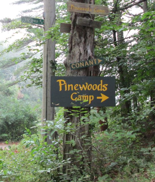 Pinewoods Camp sign at Cornish Field Road
