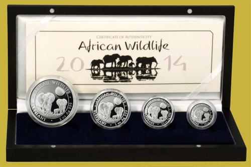 2014 Somalia Elephant 4 Proof Silver Coin Set
