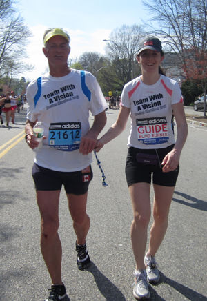 Team With a Vision members running the 2012 Boston Marathon