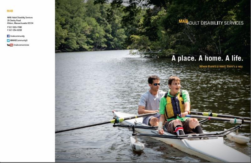 The cover of the ADS brochure, with a picture of an individual on a rowboat