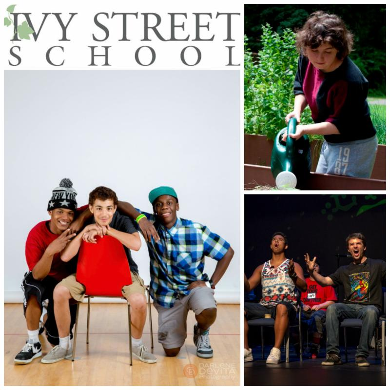 In a collage of pictures, three Ivy St, students pose in front of a white background, a student waters plants in a garden, and two students sing on stage at Extravaganza