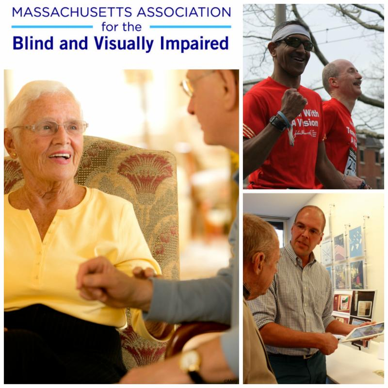 A collage of photos, with a woman speaking with her eye doctor, two Team With A Vision runners running the Boston Marathon, and an occupational therapist demonstrating an iPad app for a man