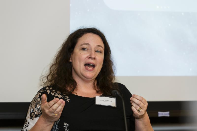 Prof. Jennifer Kaldenberg speaking on our panel on tech for visually impaired.