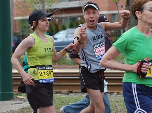 Team members Tina and Mick running the Marathon