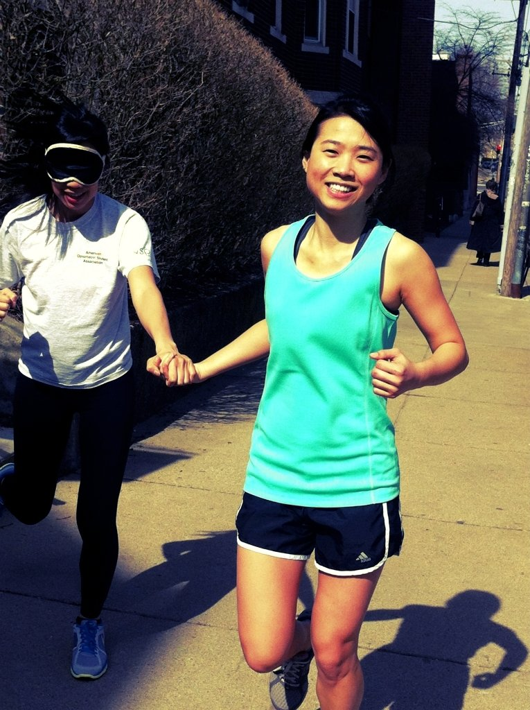 Running blindfolded to support the blind and visually Impaired