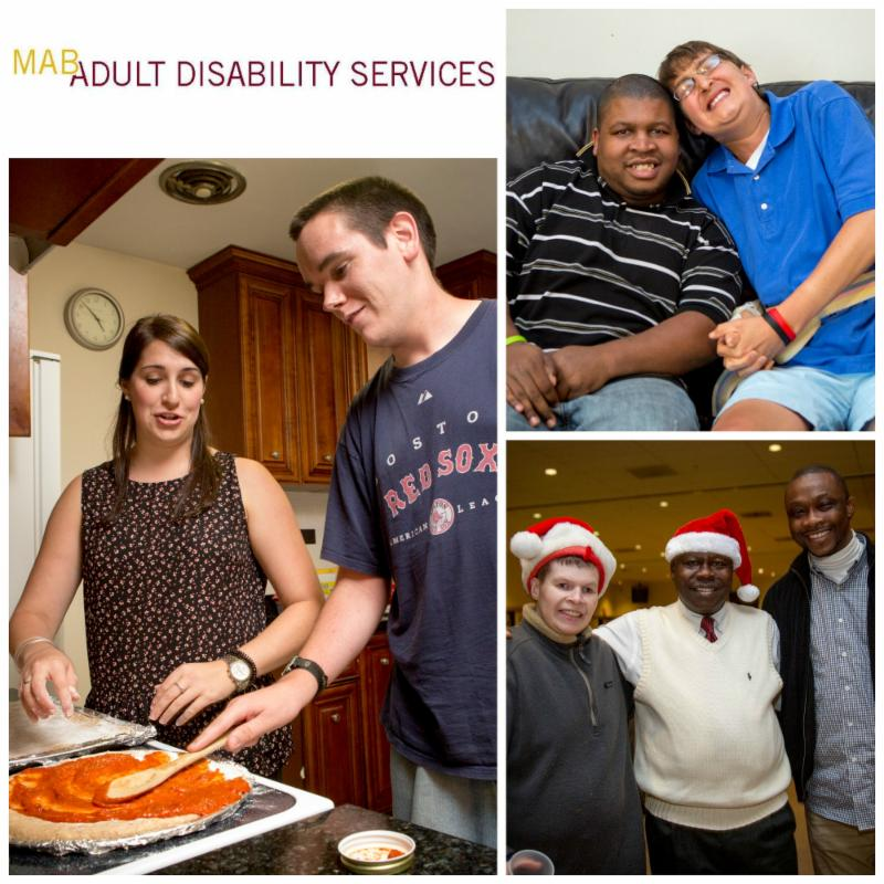 A collage of photos, with a man making a pizza as a staff member helps, two men sitting on a couch, and three men at the ADS Holiday Party