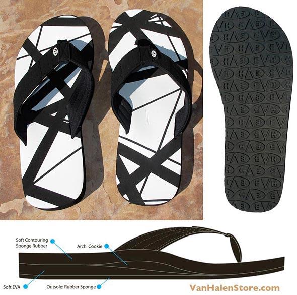 White EVH Flip Flops