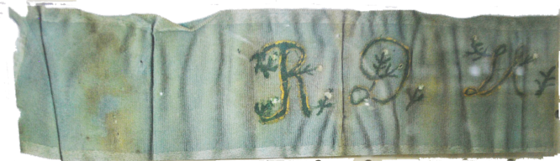 R. D. Hurley's ribbon from the 1903 land rush (Borden County Museum)
