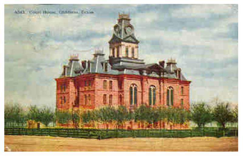 1891 Childress County courthouse, in a 1909 postcard