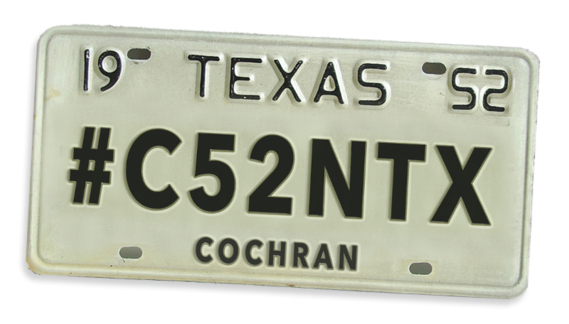 Cochran County license tag