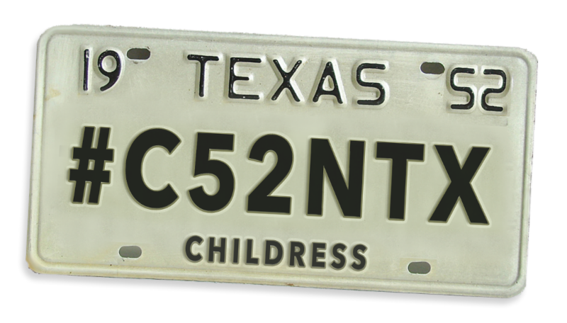 Childress County license tag