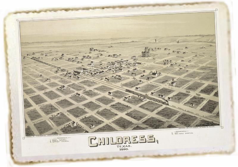 Bird's-eye view of Childress, Texas, 1890