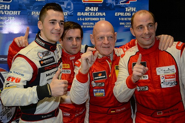 Fach Auto Tech Porsche team of Otto Klohs, Martin Ragginger, Jens Richter and Sven Muller celebrate after qualifying at Dubai Auodrome